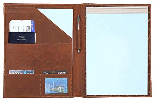 Handmade Leather Luxury Business Portfolio by Rustic Town | Professional Organizer Gift for Men & Women | Durable Leather Padfolio 3 + 1 Sleeves for documents and Notepad (Black)