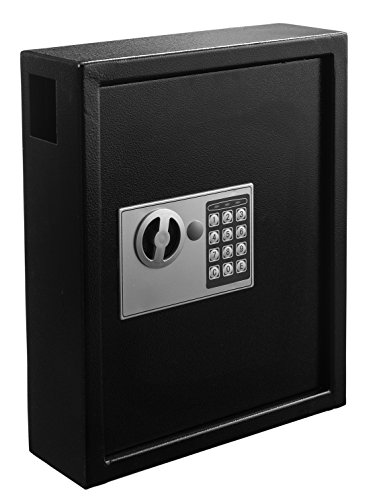 Uniclife 60 Keys Slotted Key Cabinet Steel Security Safe Lock Box with Combination Lock Black