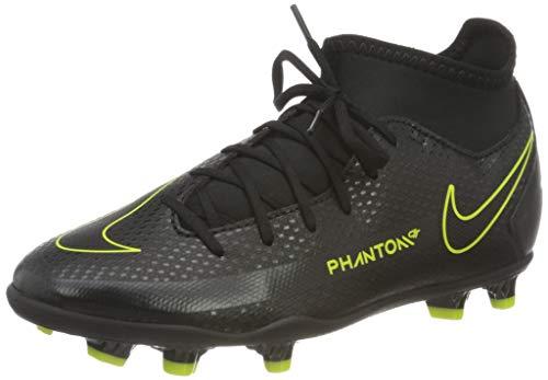 Nike JR Phantom GT Club DF FG/MG, Scarpe da Calcio, Black/Black-Cyber-lt Photo Blue, 37.5 EU