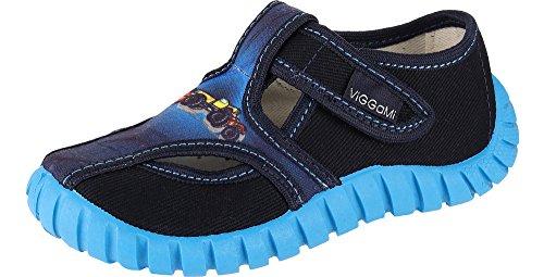 Viggami Jungen Hausschuhe mit Klettverschluss Tubis (Blau/Auto, 29)