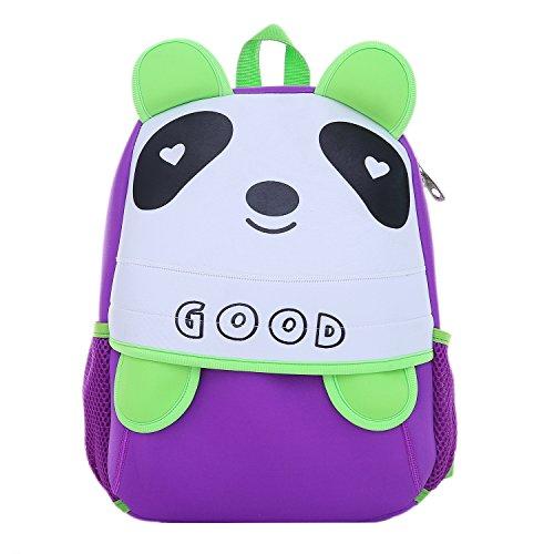 DonDon Kinderrucksack für Mädchen und Jungen Tiermotiv Pandabär lila grün 33 x 26 x 13 cm