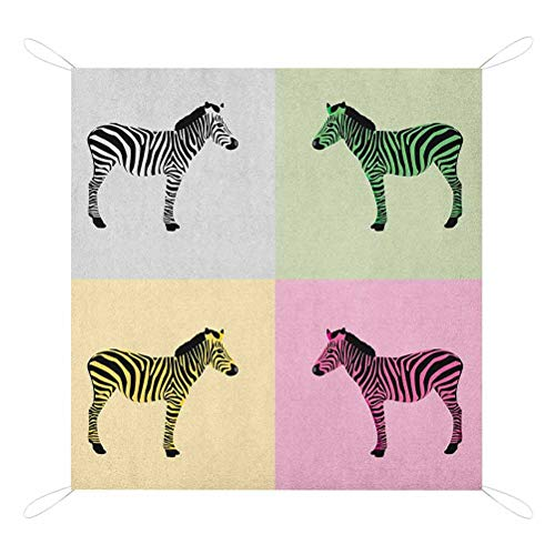 Pink Zebra Beach Blanket, Zebras in Boxes Pop Art Stylized Avant Garde Influence Graphic Durable Picnic Mat, 67' x 57', Multicolor