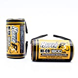 HyperPS 2 pcs 1.2V Sub C SubC 1800mAh NiCd Ni-Cd Rechargeable Battery for Power Tools Battery Pack (w/Tabs)