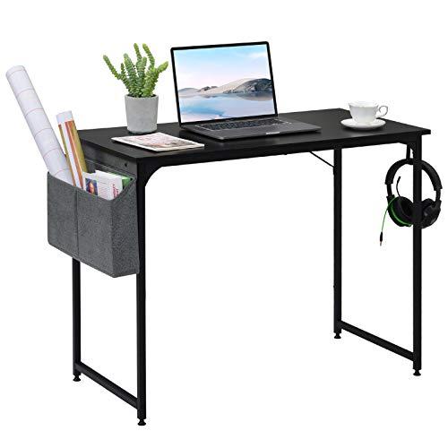 Pequeño escritorio para ordenador con bolsa de almacenamiento con gancho, mesa de oficina, mesa de trabajo, para oficina, salón, escuela, estilo industrial, estable, negro, 100 x 50 x 75 cm