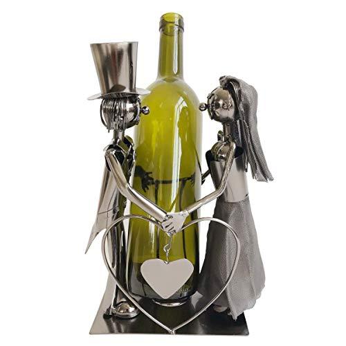 Objektkult Flaschenhalter Brautpaar aus Metall, Wein-Flaschenständer, Maße (H x B x T): 26,5 x 21 x 12 cm, mit Herz, für eine Flasche, Hochzeit, Valentinstag, Heiratsantrag