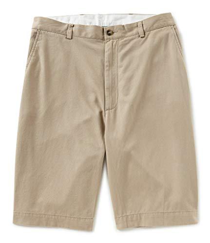"""Roundtree & Yorke Flat Front 9"""" Inseam Washed Cotton Shorts (36, KHAKI-25B)"""