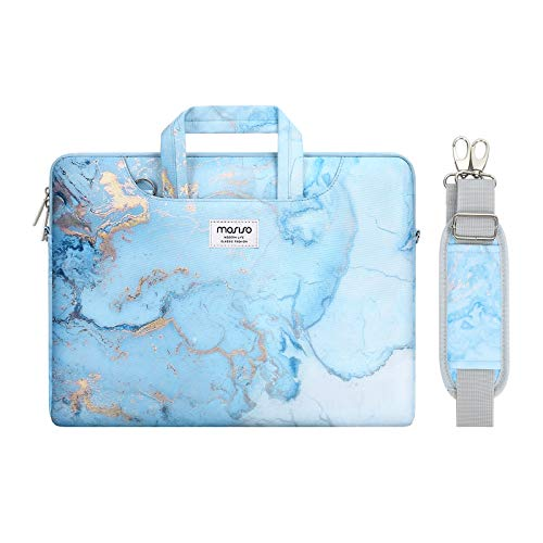 MOSISO Laptop Shoulder Bag Compatible with 13-13.3 inch MacBook Pro, MacBook Air, Notebook Computer, Watercolor Marble Briefcase Sleeve with Trolley Belt, Turquoise