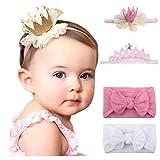 Little Beauty - Set di fasce per capelli con corona, per bambina, con fiocco da 3 mesi a 2 anni Rosa Taglia unica