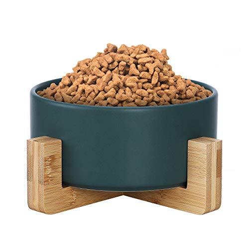 Danolt Cuenco de cerámica para gatos con soporte de madera, cuencos elevados de cerámica, sin derrames, ecológicos, 19,5 / 9 cm, verde, blanco
