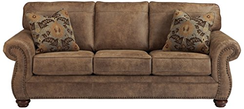 Signature Design by Ashley - Larkinhurst Contemporary Faux Leather Sofa w/ Nailhead Trim, Earth