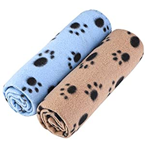 Aodaer Pack of 2 Cute Paw Print Blanket Puppy Dog Blanket Pet Blankets Small Animals Blanket for Small Animals