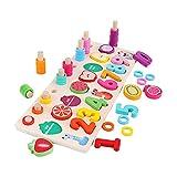 F Fityle Niños Madera Ocupada Tablero Número de Forma Reconocimiento de Color Juguetes de Madera Unisex Juguetes de Madera Unisex
