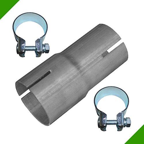 Bandstahl Verbindunsstück Rohr Reduktion Reduzierstück von 40mm auf 45mm Adapter inkl. 2 Schellen Auspuff Reduzierverbinder Klemmstück Reduzierung Abgasanlage Rohrverbinder