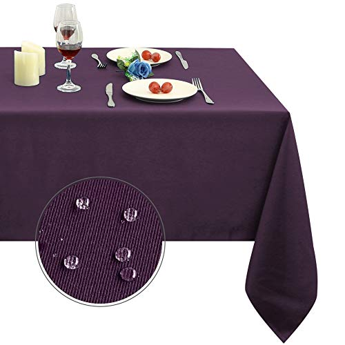 Obstal 210GSM Rectangle Table Cloth - Heavy Duty Water Resistance Microfiber Tablecloth, Decorative Fabric Table Cover for Outdoor and Indoor Use (Purple, 60 x 120 Inch)