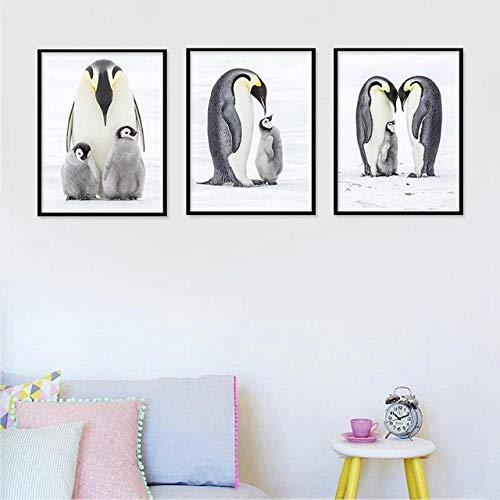 SYLZBHD Pinguin Cartoon Sweet Animal Home Decor Print Poster Nordische Leinwand Malerei Baby bevorzugt Schlafzimmer Wohnzimmer Bild Wand Poster 40x50cmx3 Kein Rahmen