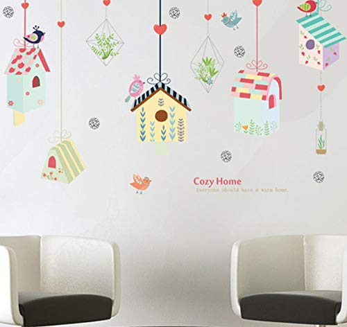 sufengshop Cartoon Vogels Vogelkooi Groene Plant Opknoping Mand Stickers voor Kids Kamer Slaapkamer Gezellige Home Decoratie DIY Vinyl Muursticker Grootte 60×90cm
