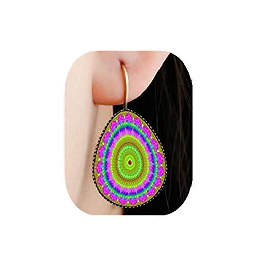 yichahu Pendientes de gota de agua con diseño de mandala, varios colores, para niñas y mujeres, de moda, lágrimas, de cristal en forma de gota (10)