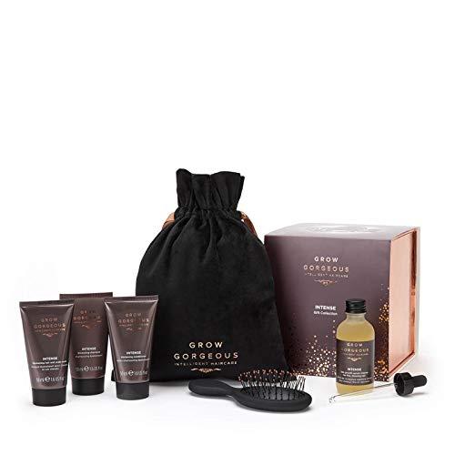 Groei GORGEOUS INTENSE GIFT COLLECTIE. Haargroei Serum Intense, Verdikking Shampoo, Conditioner, Haar & Hoofdhuid Masker, Zachtjes Prachtige Mini Brush