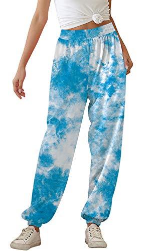 uideazone Women Sweatpants Tie Dye Colorful Joggers Trousers Fashion Ladies High Waist Elastic Harem Pants Casual Lounge Workout Bottoms Blue White