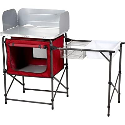Ozark Trail Durable Steel Frame with Easy-to-clean Tabletop, Deluxe Outdoor Camp Kitchen and Sink Table