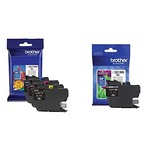 Brother Printer LC30173PK High Yield XL 3 Pack Ink Cartridges- 1 Ea: Cyan/Magenta/Yellow Ink & Printer High Yield Ink Cartridge Page Up to 400 Pages Black (LC3013BK), Standard
