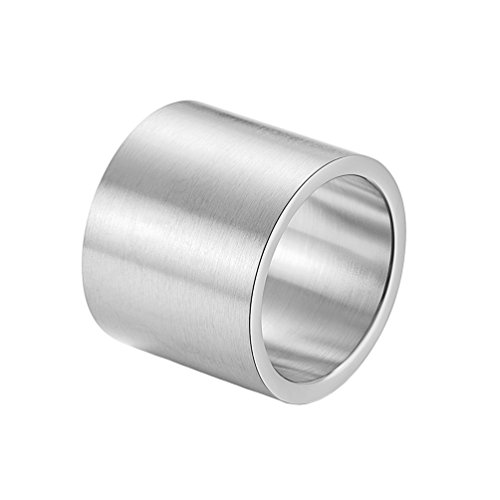 INRENG Mens Womens Stainless Steel 19mm Wide Ring Big Cool Plain Band Matte Finish Flat Top Silver Size 10