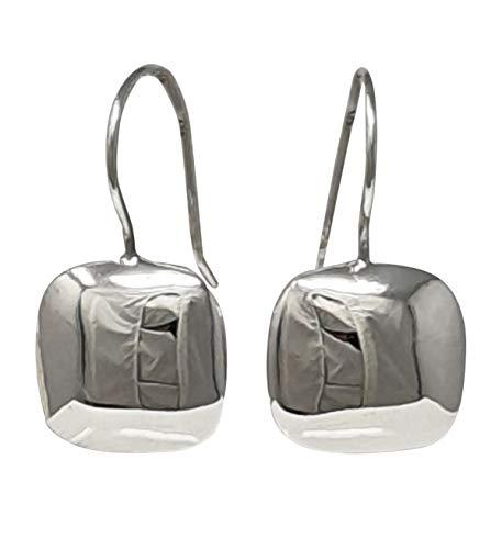 TreasureBay Pendientes de gota de plata de ley 925 con forma de cojín de alto pulido