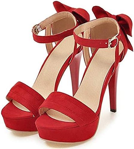 HommesGLTX Talon Aiguille Talons Hauts Sandales Grand Taille 34-43 Mode Femmes Talons Hauts Sandales Bowknot été Doux Chaussures De Mariage De Couleur Unie Chaussures De Mariage De Couleur