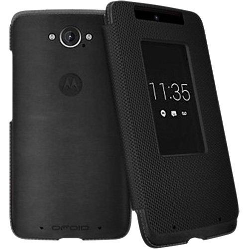 Motorola Flip Case for Motorola DROID Turbo XT1254 - Black Leather and Ballistic Nylon
