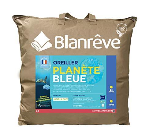 blanrêve Oreillers Planète Bleue-synthétiques et écologique 60X60 cm, Microfiber, Blanc, 60X60