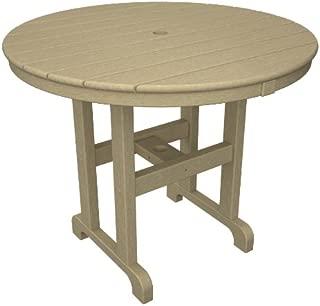 POLYWOOD RT236SA Round Dining Table, 36-Inch, Sand
