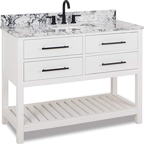 Find Discount 48 vanity with White finish, matte black hardware, contemporary design, and preassemb...