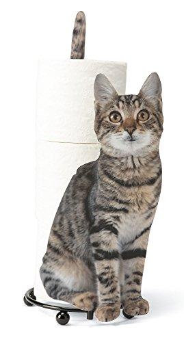Tiger Striped Paper Holder - Photo-Realistic Cat Metal Paper Towel or Toilet Paper Dispenser