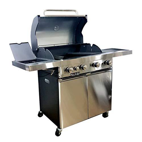 manieri Barbecue a Gas GPL Pietra Lavica 4 Fuochi Fire Dok Special Inox