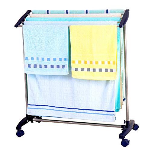 Hershii Toallero móvil de pie, 5 barras, de acero inoxidable, estante de baño, organizador de almacenamiento de zapatos, ahorro de espacio, percha para lavandería, dormitorio, zona de piscina, etc