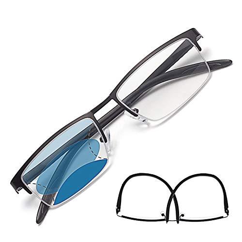 JIMMY ORANGE遠近両用老眼鏡 NEW累進多焦点 ブルーライトカット メンズ レディース おしゃれ 軽いリーディンググラス AM5106G (ブラック_改良版, 2.00)