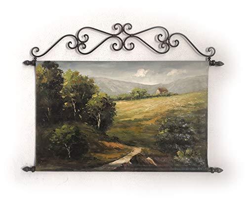 Obra original, pintura sobre lienzo y montada sobre hierro forjado. Cuadro Único para Decoración del Hogar Rústico y Moderno