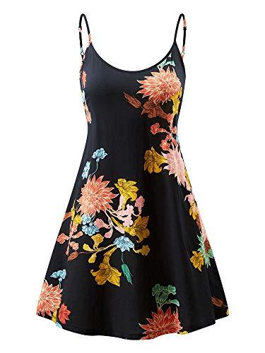 MSBASIC Vestido de Verano sin Tirantes Ajustable con Mangas para Mujeres MD17148-11-S