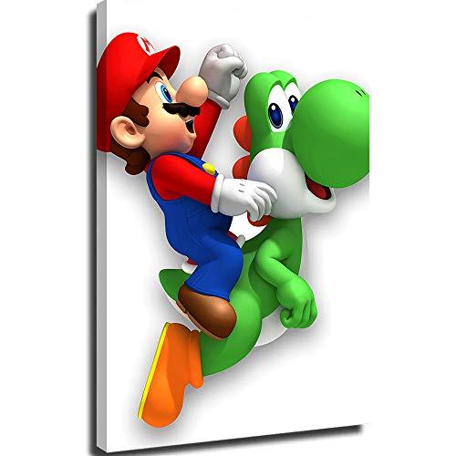 Lienzo personalizado para pared de dormitorio, diseño de Mario Bros en Yoshi (1) lienzo de 30,5 x 45,7 cm