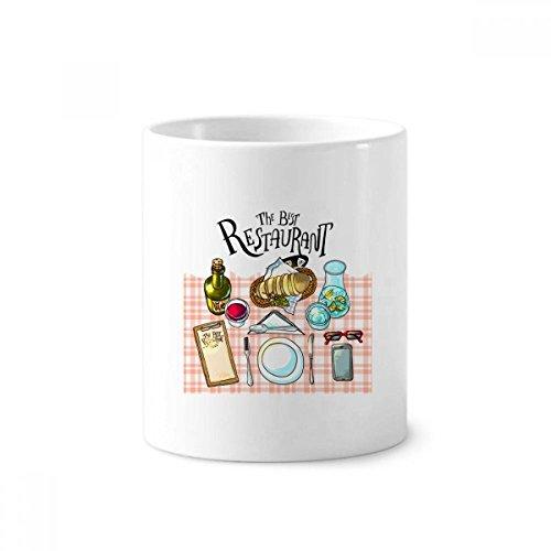 Het beste restaurant Wijn Lemonade Keramische Tandenborstel Pen Houder Mok Wit Cup 350ml Gift