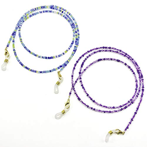 2PC Glass Beaded Eyeglass Chain and Mask Strap in One | Face Mask Lanyard Chain for Women | Lilac Ocean