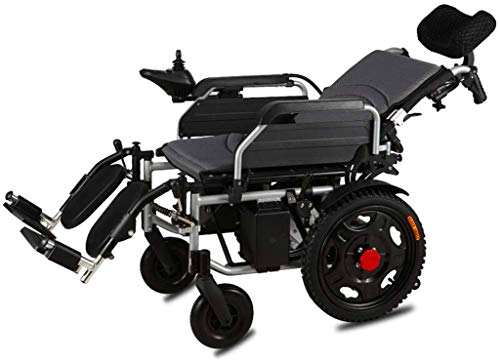 Rollstuhl für Mobilitätshilfe, Rollstuhl Medizin und Rehabilitation Stuhl, Rollstuhl, Heavy Duty Elektro-Rollstuhl mit Kopfstütze, faltbar und leicht elektrisch betriebenen, 360 ° Joystick, Gewicht Ka