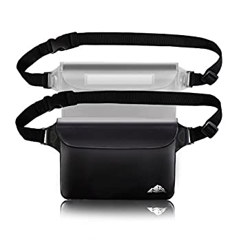 HEETA 2-Pack Waterproof Pouch Screen Touch Sensitive Waterproof Bag with Adjustable Waist Strap - Keep Your Phone and Valuables Dry - Perfect for Swimming Diving Boating Fishing Beach Black & White