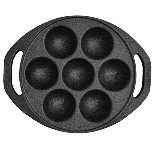 Dynamic Cookwares Premium Cast Iron 7 Cavity Paniyaram/Paddu/Ponganalu Pan/Kallu/Chatti (Pre-Seasoned   Induction Compatible)