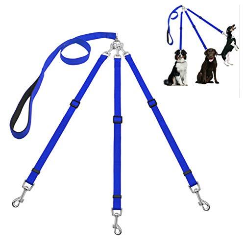 3 Hond Leads Dubbele Hondenriem Dog Training Lead Hond Leidt Sterke Hond Lead Splitter Anti Pull Hond Lood Training Lead Voor Honden Hond Lood Riem blue