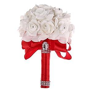 Bleiou Colorful Foam Roses Artificial Flower Wedding Bride Bouquet Party (Purple+White)