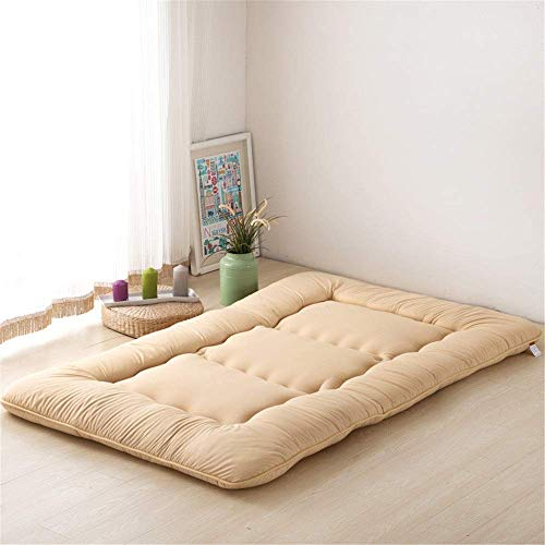 Lqfcjnb Folding Mattress Sleeping Tatami Floor Mat Foldable Futon Soft Thick Student Dormitory Mattress Pad 5cm Thick Easy Storage Without Occupying Space (Color : Khaki, Size : 90x200x10cm)