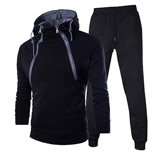XUEBing Los hombres de invierno 2 piezas conjuntos chándal con chaqueta y corredores personalidad doble cremallera con capucha manga larga suéteres traje