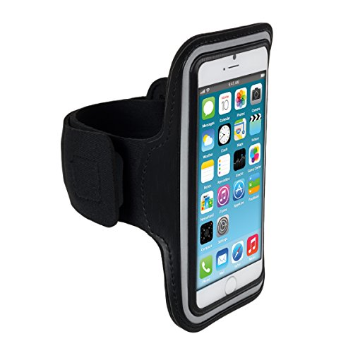 kwmobile Sport Armband für Apple iPhone 6 / 6S / 7 - Jogging Lauf Sporttasche Fitnessband mit Schlüsselfach im Sportarmband in Schwarz