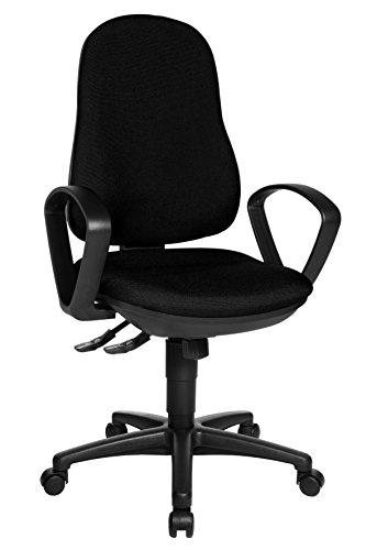 Topstar Support SY Bürostuhl, Schreibtischstuhl, inkl. Armlehnen B2(B), Bezugsstoff schwarz, 55 x 58 x 113 cm